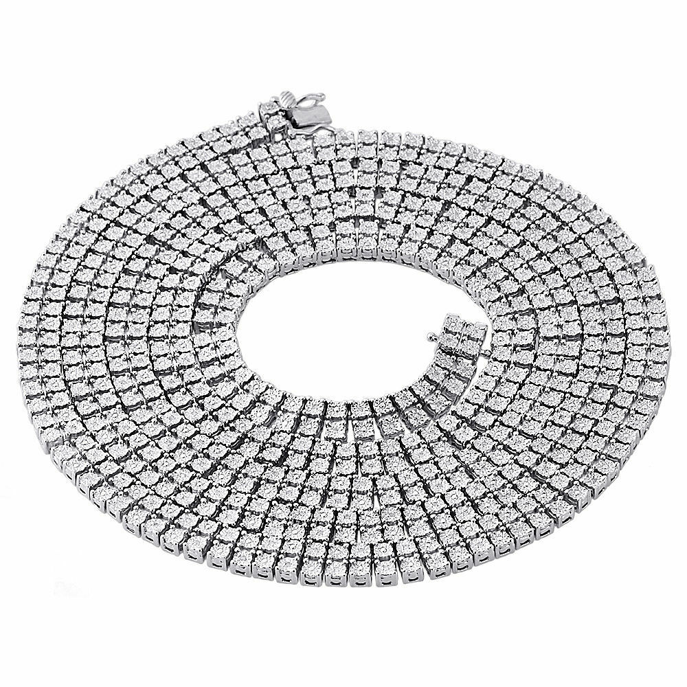 Mens 925 Sterling Silver 2 Row White Diamond Chain