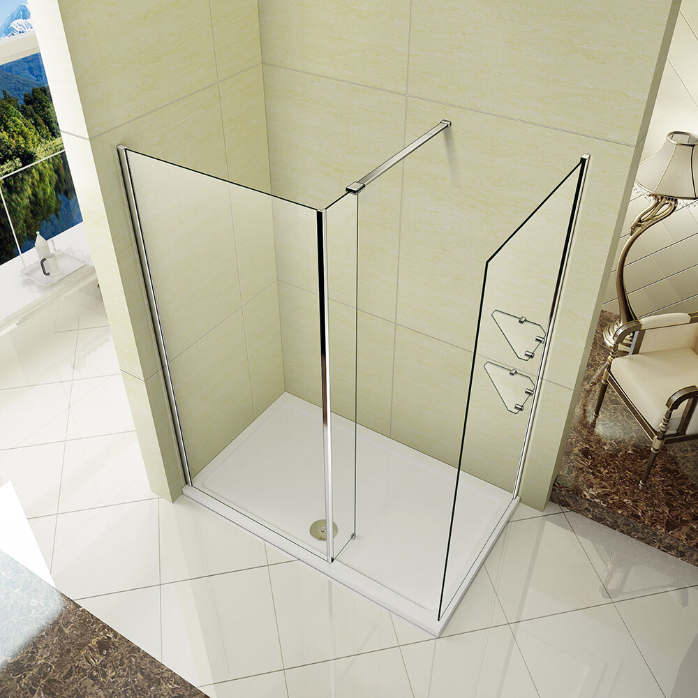 L shape wet room shower enclosure walk in glass cubicle fixed panel stone tray ebay - Walk in glass shower enclosures ...