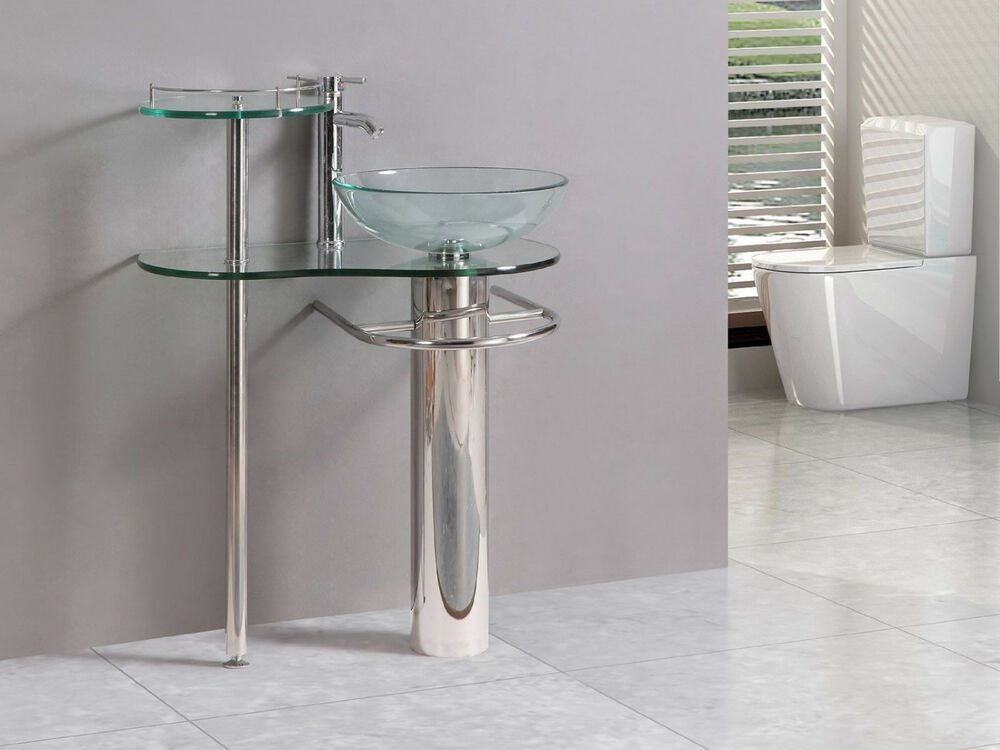 modern bathroom vanities pedestal vessel glass furniture sink w bath