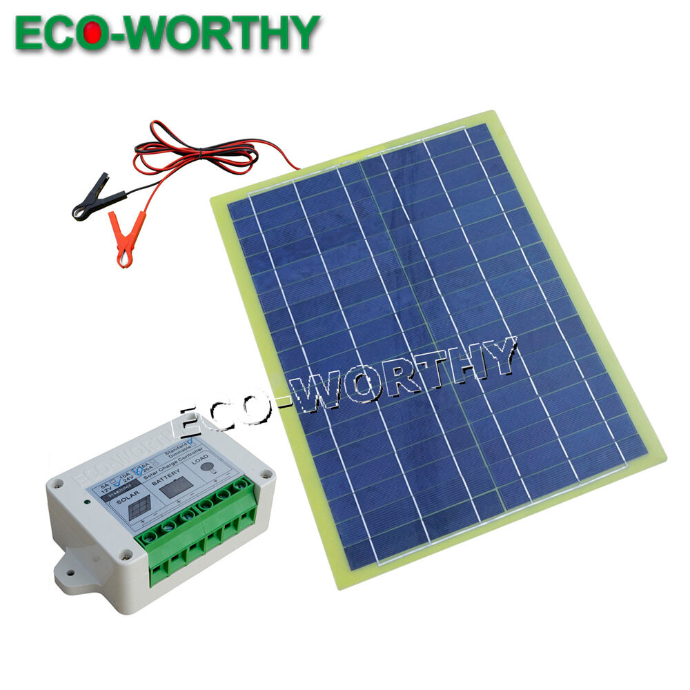 20w solar panel with 10a controller for 12v battery charger marine yacht system ebay. Black Bedroom Furniture Sets. Home Design Ideas