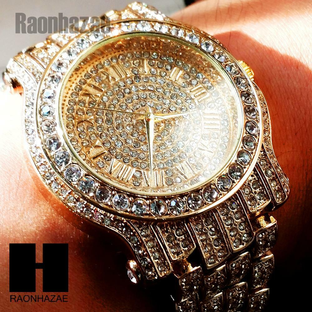 Hip Hop Iced Out Techno Pave14k Gold Rose Gold Silver Finished Lab Diamond Watch Ebay