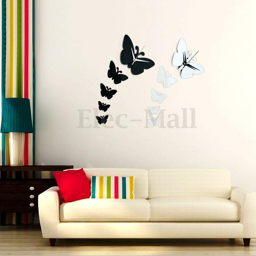 Modern Diy 3d Mirror Wall Clock Butterfly Sticker Decal Art Home Room Decoration Ebay