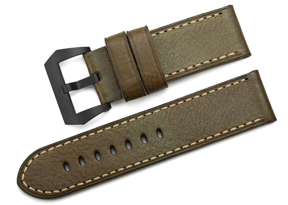 26mm Army Green Genuine Leather Watch Strap Black PVD ...