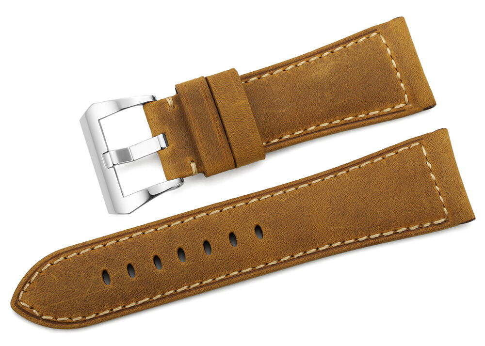 26mm Brown Genuine Calf Leather Watch Band Steel Pre-V ...