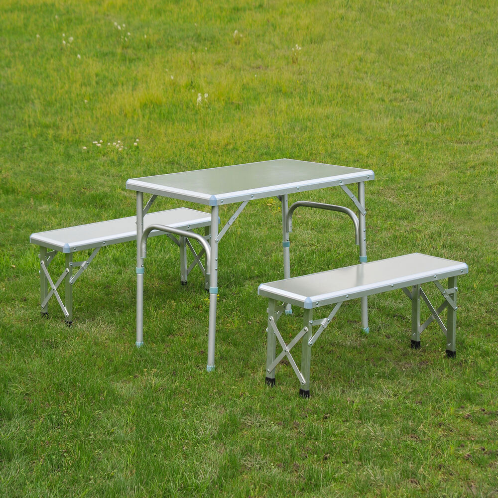 outsunny folding aluminum picnic table portable bench combo outdoor camping bbq ebay. Black Bedroom Furniture Sets. Home Design Ideas