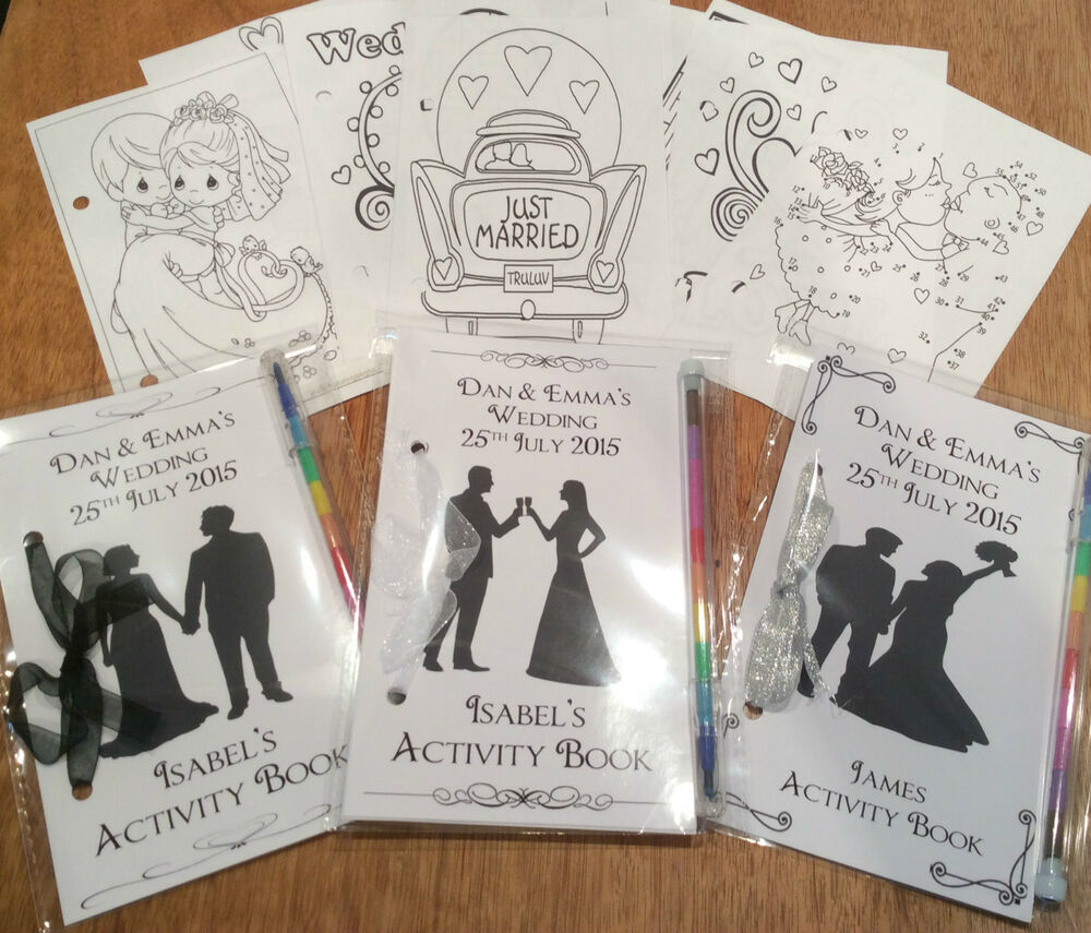 Personalised Wedding Gift Book : Personalised Children Wedding Black & White Silhoutte Activity Book ...