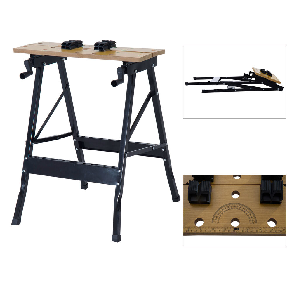 Folding Workbench Table Tool Helper W Vise Mechanic Portable Workshop Clamping Ebay