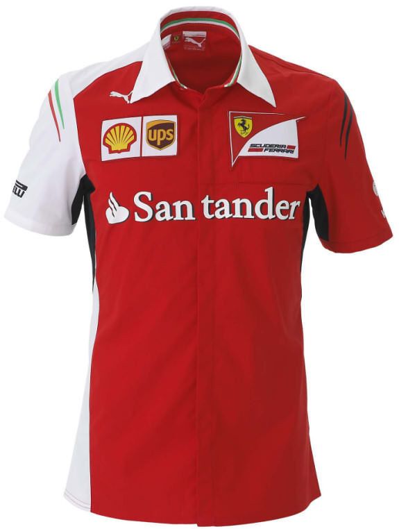 authentic puma scuderia ferrari f1 team 2014 short sleeve button shirt 761461 01 ebay. Black Bedroom Furniture Sets. Home Design Ideas