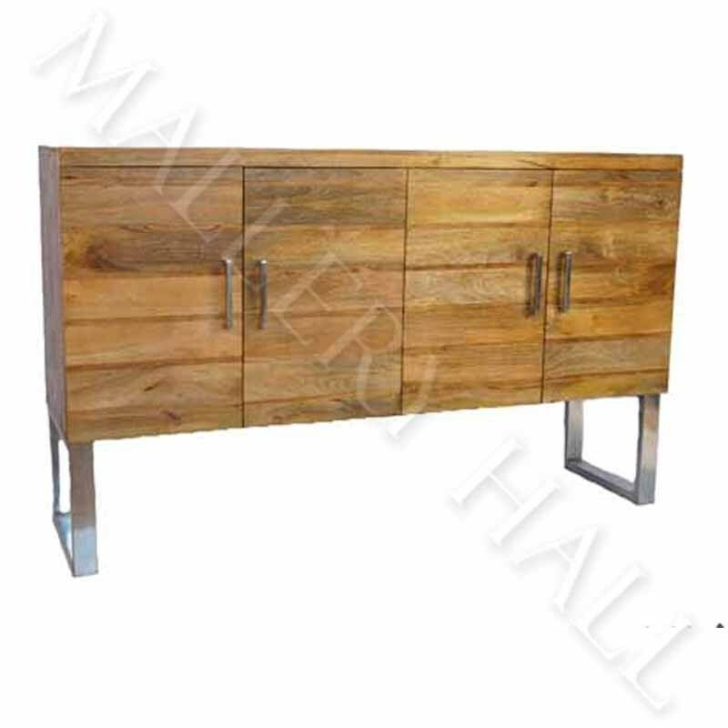 mango wood stainless leg sideboard industrial style 4 doors shelving ebay. Black Bedroom Furniture Sets. Home Design Ideas