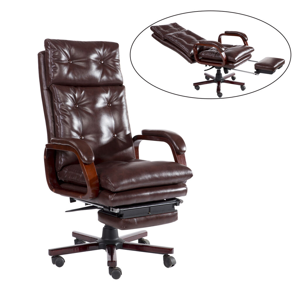 leather executive chair homcom high back pu leather executive reclining office 16625 | s l1000