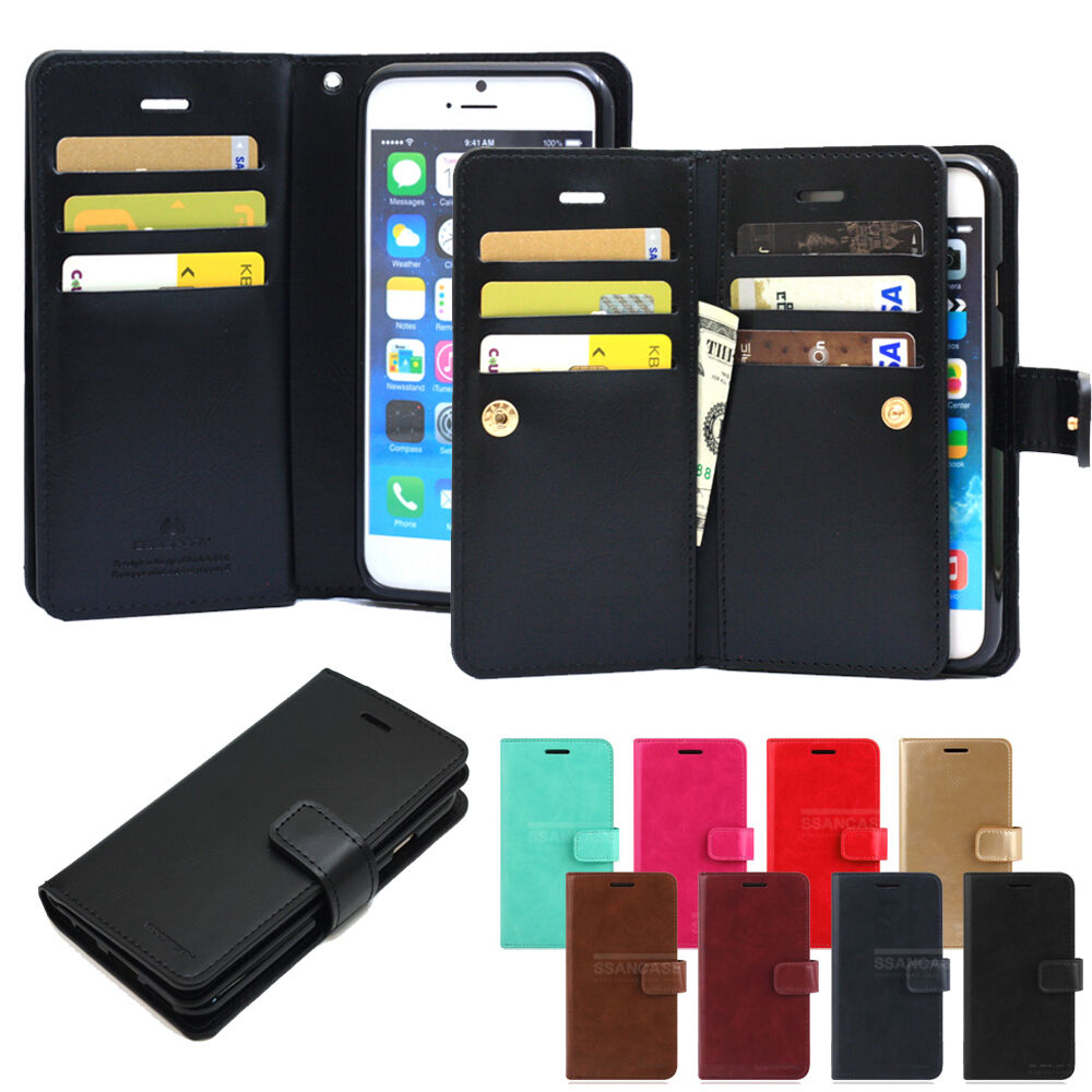 iphone flip phone case flip book leather wallet cover snap fastener 15266