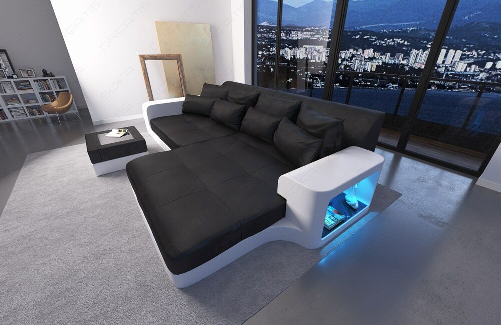 big sofa leather sofa milano with led lights sectional corner sofa color select ebay. Black Bedroom Furniture Sets. Home Design Ideas