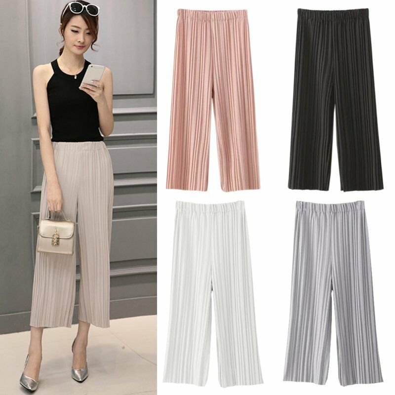 Summer Women's Girls Casual Long Loose Pants Pleated ...