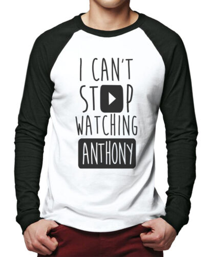 I Can't Stop Watching Anthony - Vlogger Star Youtubers Men Baseball Top