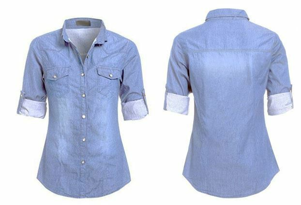 Womens ladies casual plus size button down denim classic for Womens button down shirts fitted