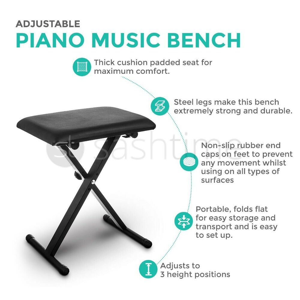 Black Piano Stool Fully Adjustable Height Pro X Frame