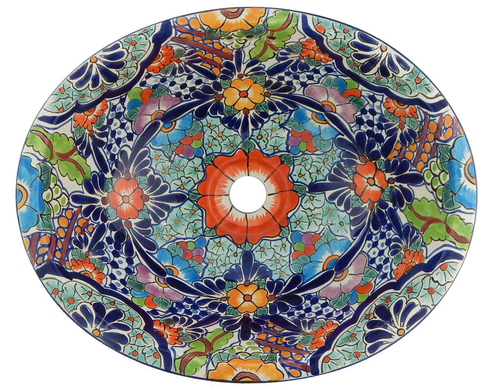 Mexican Bathroom Talavera Sink Handmade Ceramic Mexico 204 Ebay