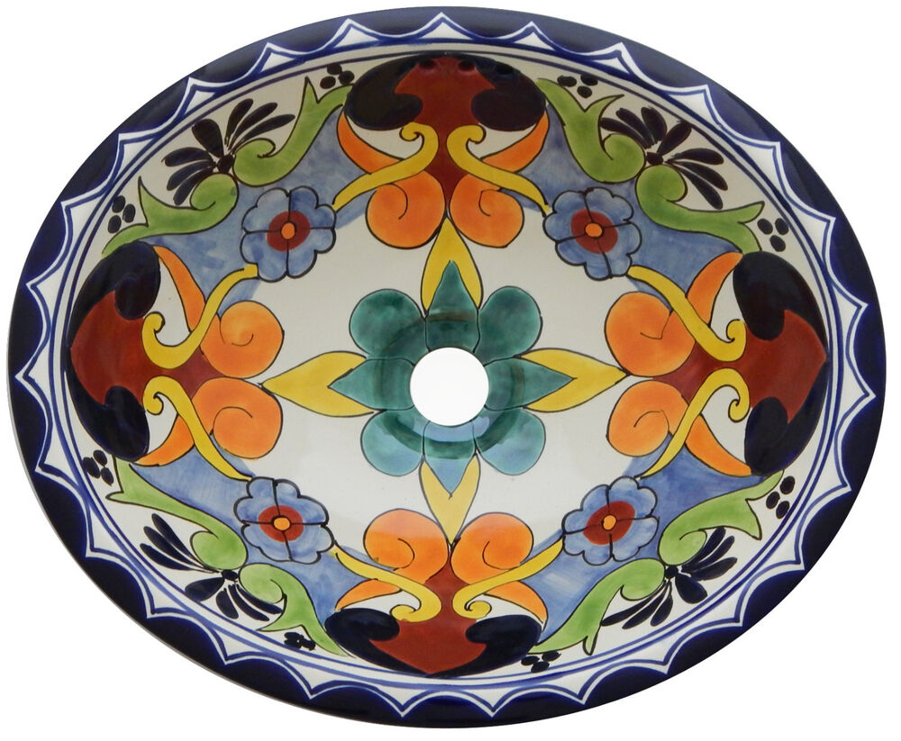 Mexican Bathroom Talavera Sink Handmade Ceramic Handpainted Drop In 208 Ebay