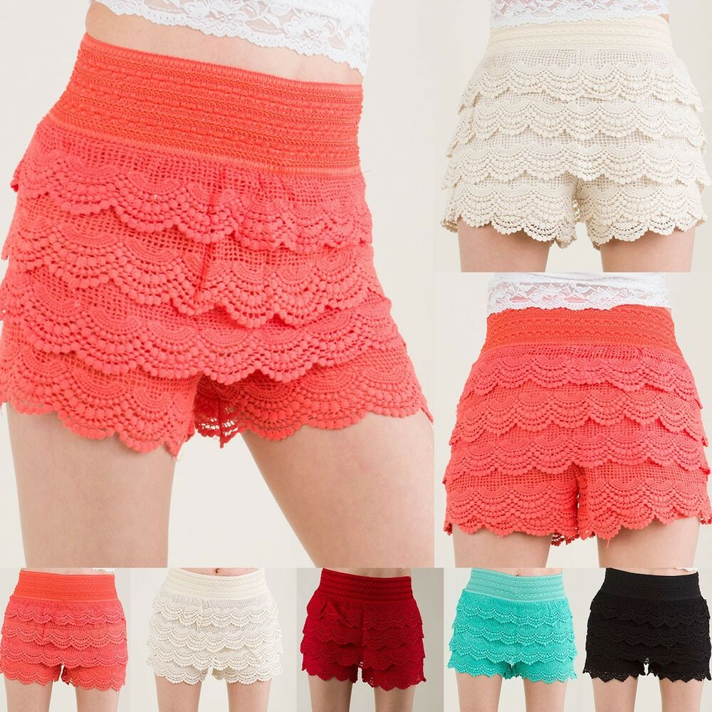 Fashion Girl Womens Cute Crochet Tiered Lace Shorts Skirt ... |Black Tiered Lace Shorts