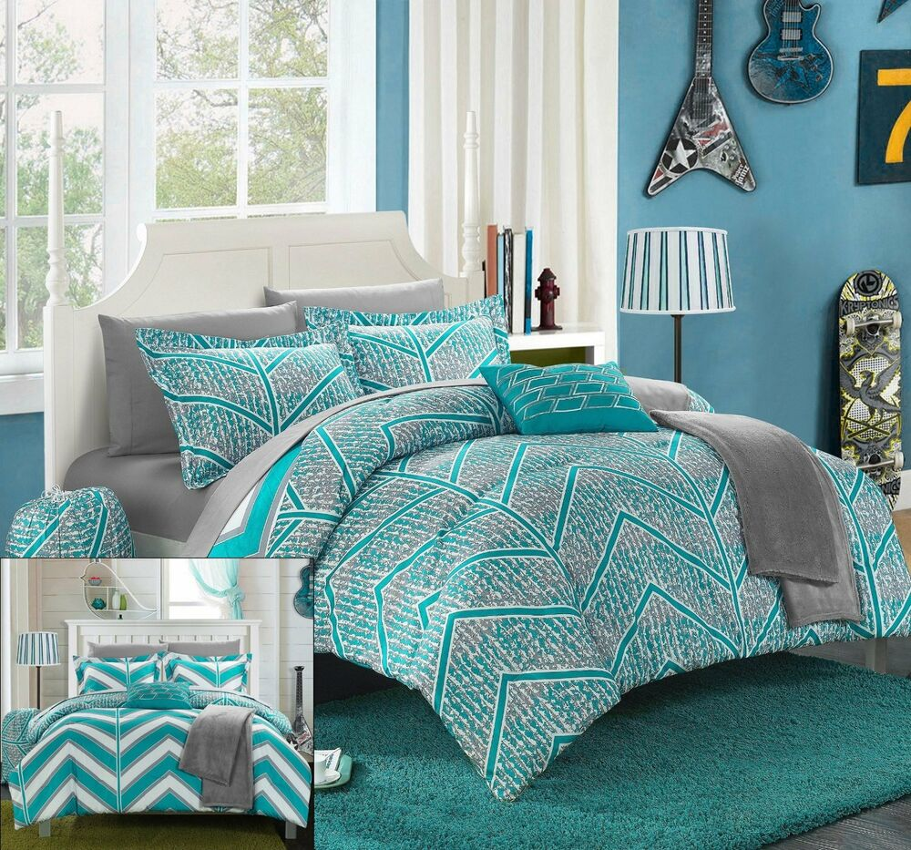 Twin xl 8 pc girls complete bedding set in bag teal chevron geometric dorm teen ebay - Bedspreads for teenagers ...
