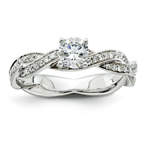 Diamond antique split twist infinity band 14k white gold for Where can i sell my old wedding ring