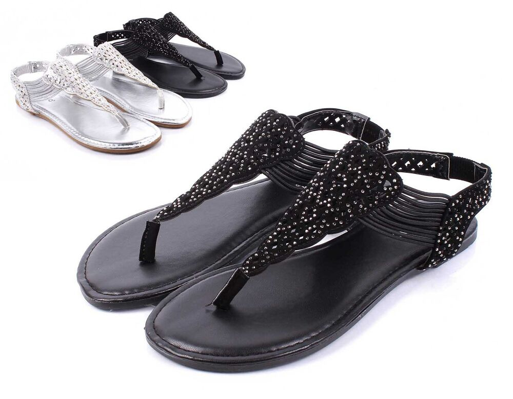 Black Bamboo Fashion Slip On T Strap Womens Sandals Flat