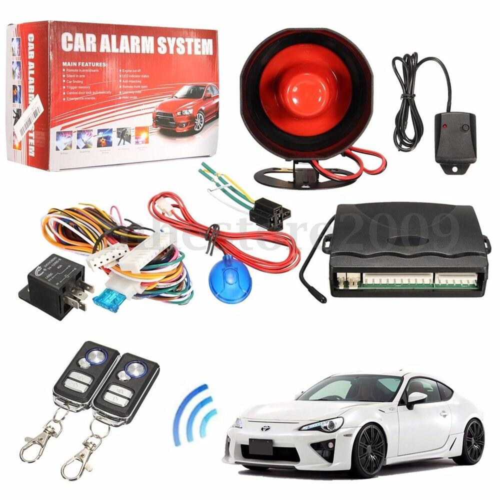 12v car alarm protection security system keyless entry siren remote control kit ebay. Black Bedroom Furniture Sets. Home Design Ideas
