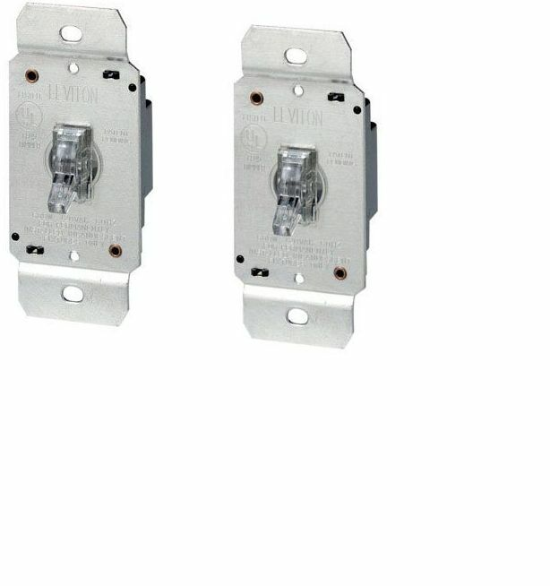 2 pack leviton toggle dimmer switch single pole lighted 120 v clear card ebay. Black Bedroom Furniture Sets. Home Design Ideas