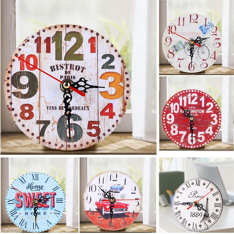 Vintage Wooden Wall Clock Shabby Chic Rustic Office Kitchen Home Antique Decor Ebay