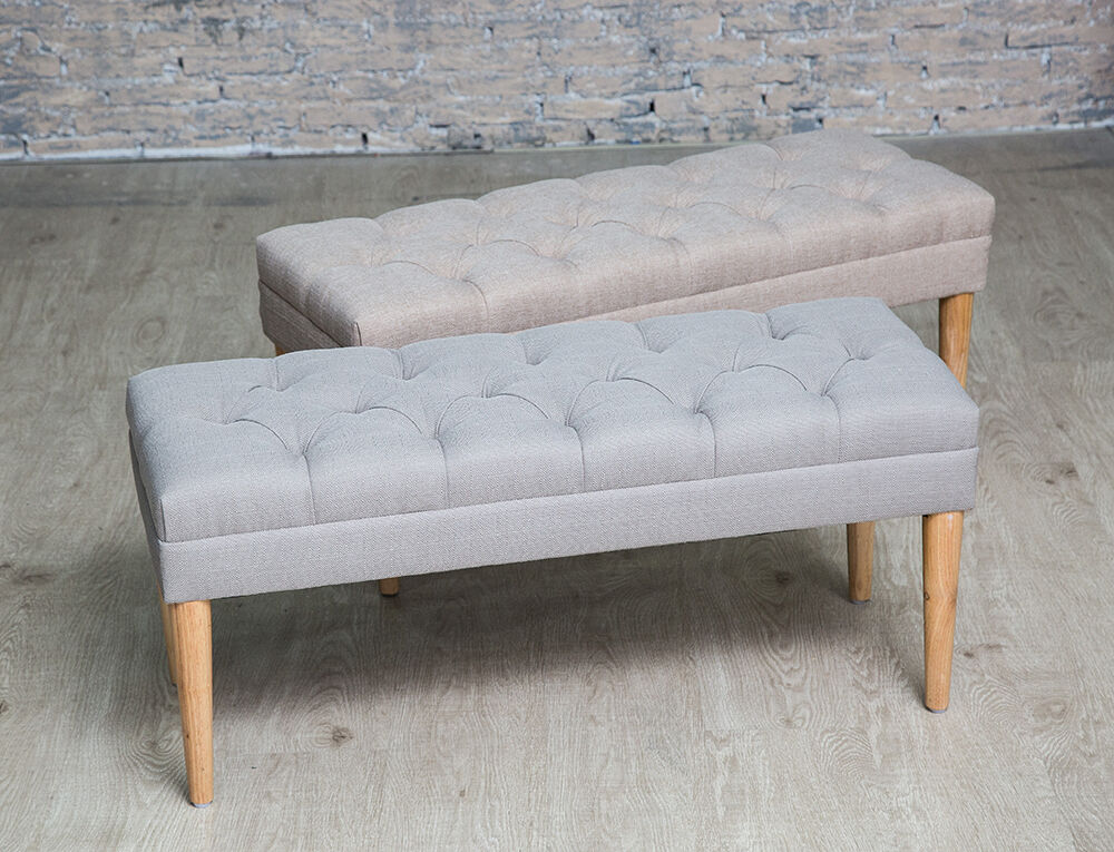 Button Tufted Upholstered Fabric Bench Hallway Bedroom Window Seat Stool Ebay