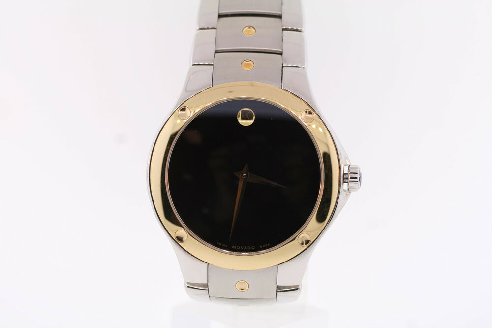 0cd5753f94a Details about Men s Movado 0605910 SPORTS EDITION SE Two-Tone Stainless  Steel Black Dial Watch