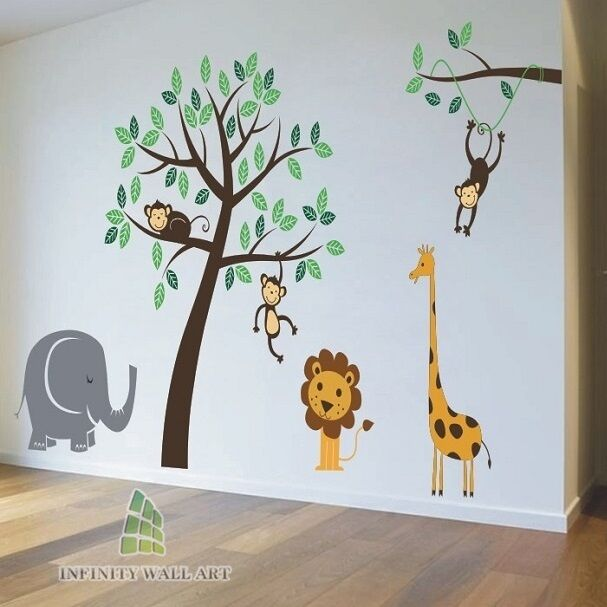 Nursery Wall Stickers Animal Friends Jungle Safari Tree Kids Art Decal P267 Ebay