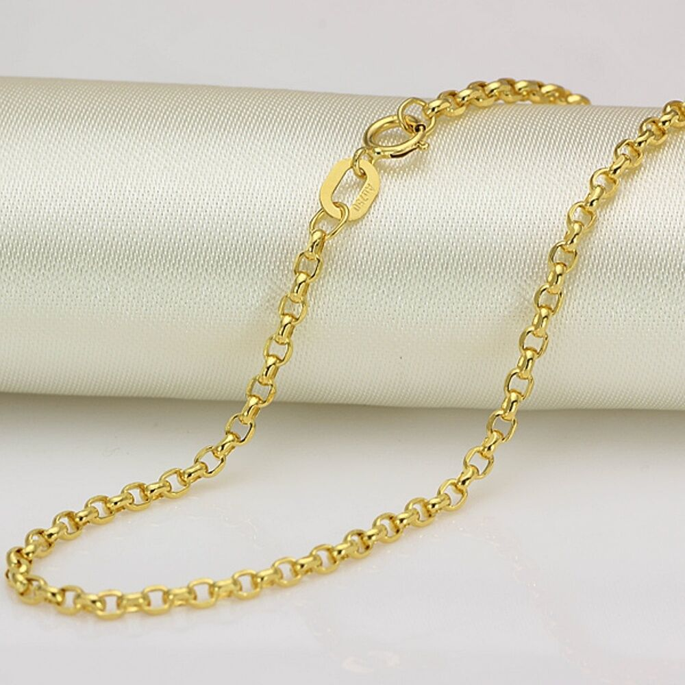 fine 20 inch solid 18k yellow gold necklace 2mm rolo link. Black Bedroom Furniture Sets. Home Design Ideas