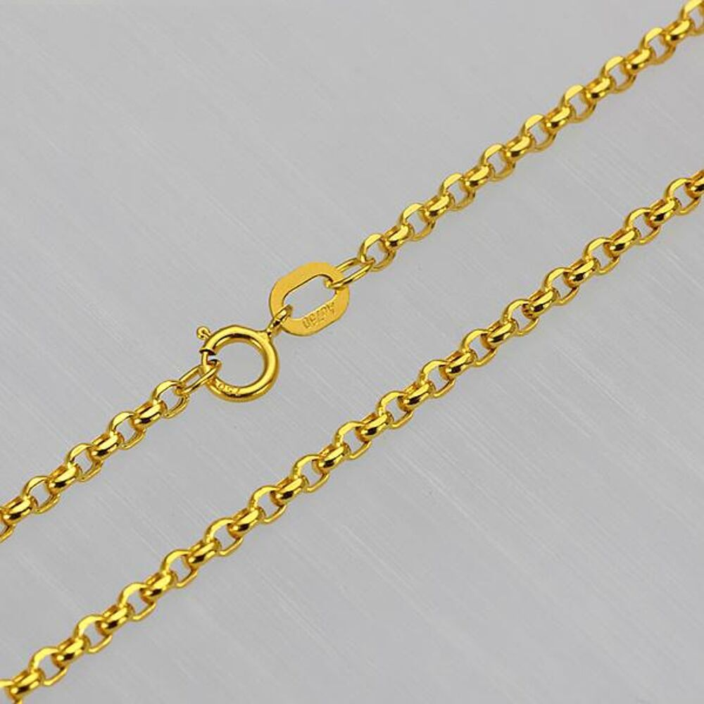 fine 23 6 inch solid 18k yellow gold necklace 2mm rolo. Black Bedroom Furniture Sets. Home Design Ideas