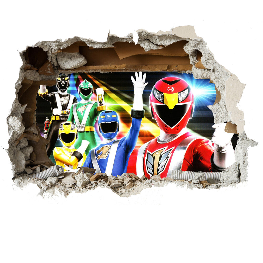 power rangers wall sticker children bedroom vinyl 3d smash power rangers mural