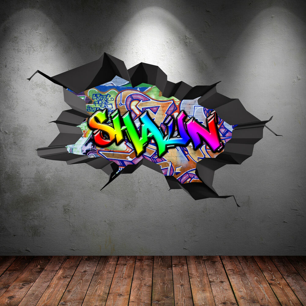 Multi colour personalised 3d graffiti name cracked wall for Sticker mural 3d