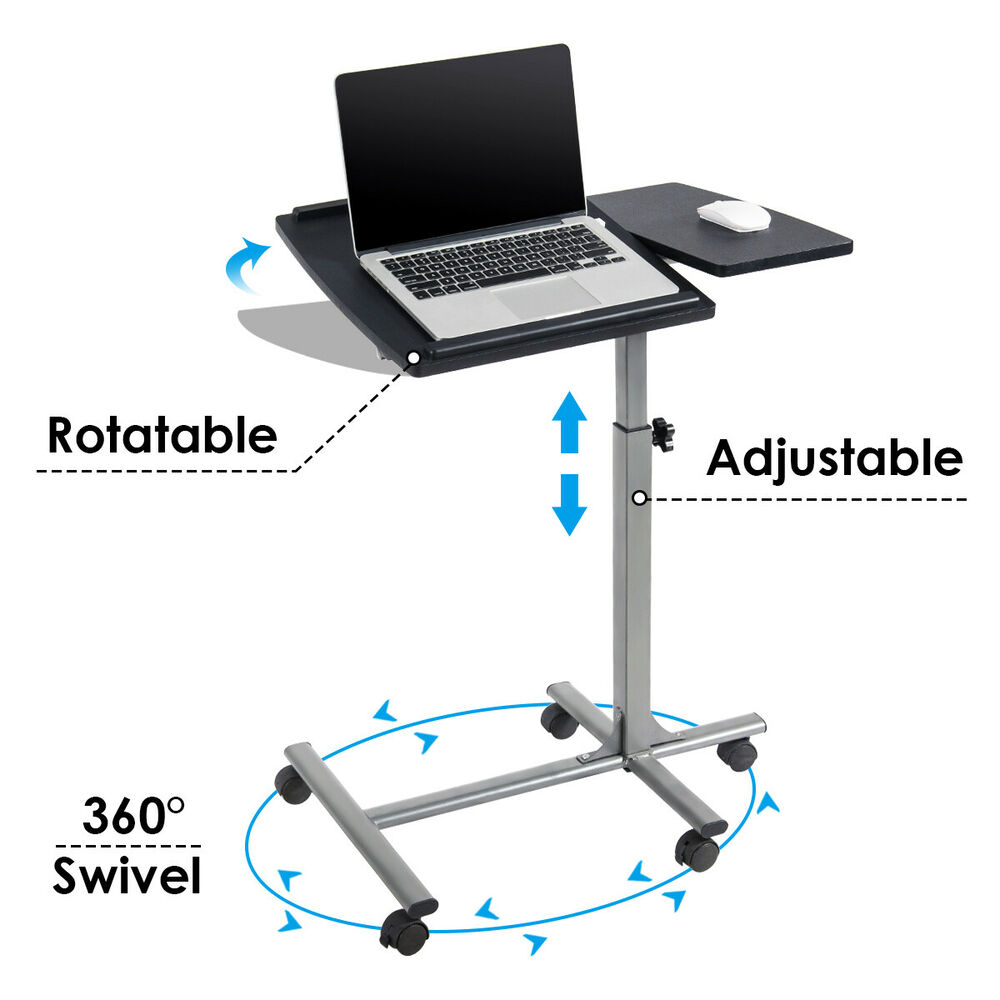 adjustable angle height rolling laptop notebook desk stand over sofa bed table ebay. Black Bedroom Furniture Sets. Home Design Ideas