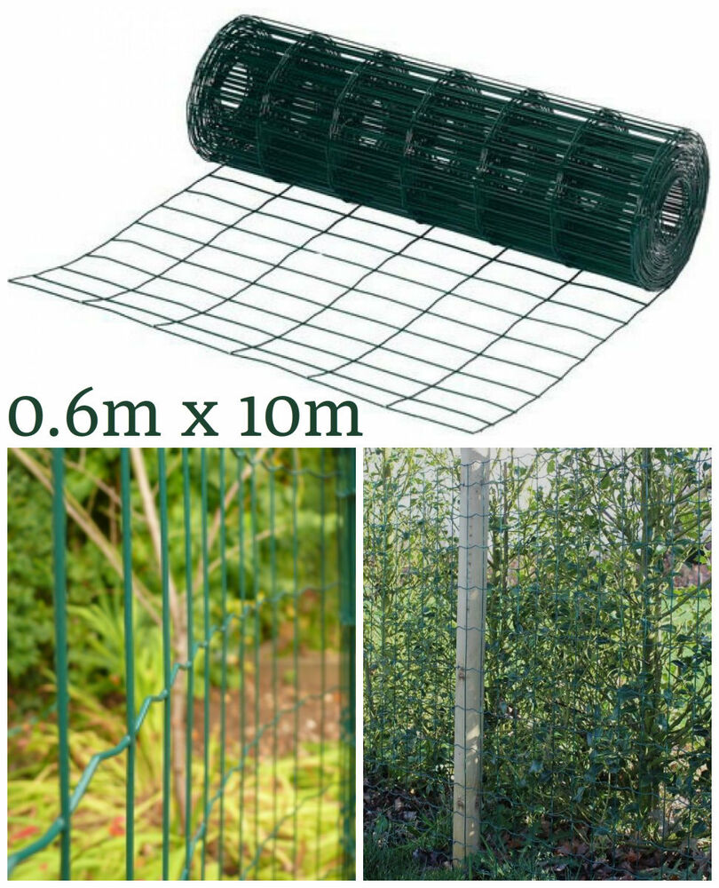 NEW HEAVY DUTY 10M X 0 6M GARDEN GREEN PVC COATED STEEL WIRE MESH FENCING PAN