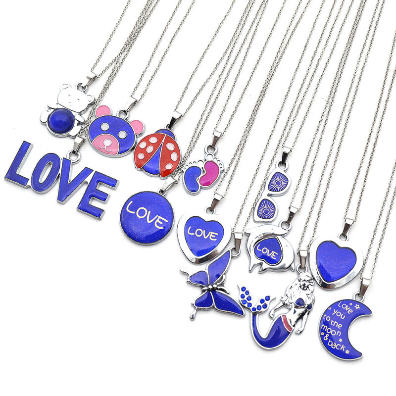Women mood pendant necklace emotion feeling color changing for Fashion jewelry that won t change color