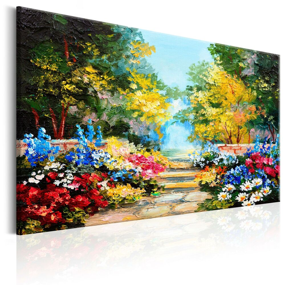 leinwand bilder xxl kunstdruck wandbild blumen garten wie gemalt c b 0118 b a ebay. Black Bedroom Furniture Sets. Home Design Ideas