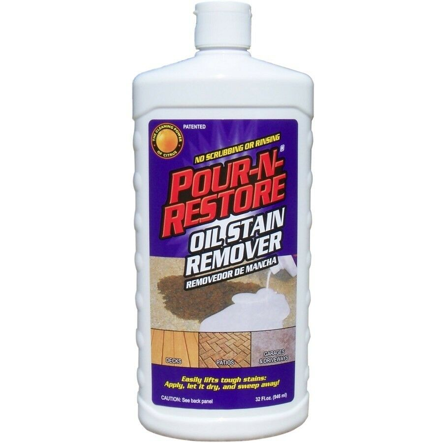 Pour n restore driveway garage oil stain remover 32oz ebay for Concrete cleaner oil remover