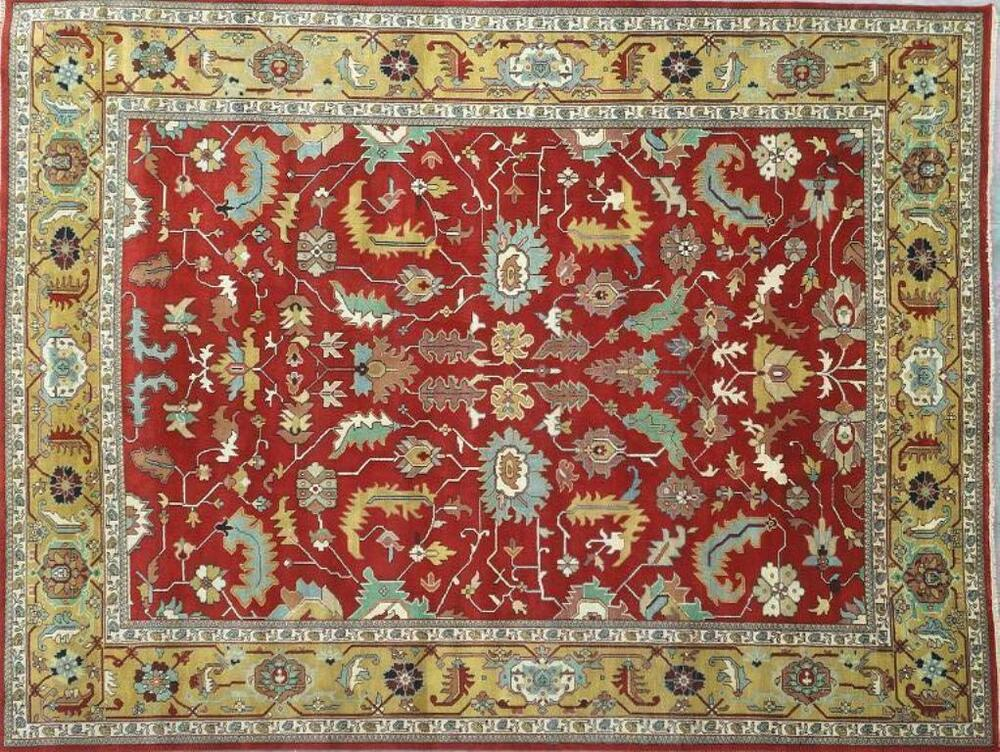 Sale 12x16 vivid red gold area rug oriental serapi carpet for Red and gold area rugs