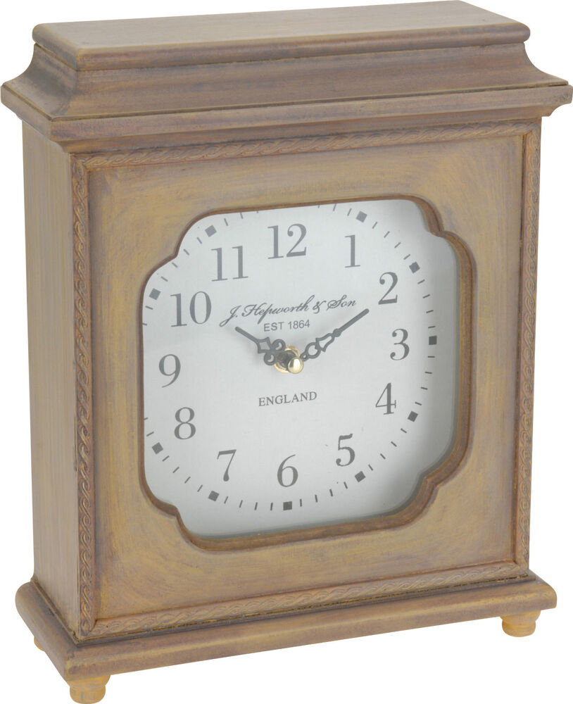 Wooden table clock traditional style mantle desk