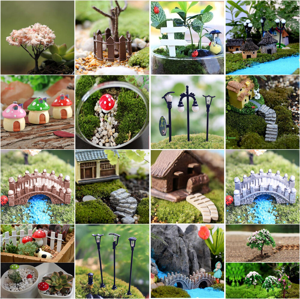 Mini craft figurine plant pot garden ornament miniature fairy garden decor diy ebay - Garden decor accessories ...