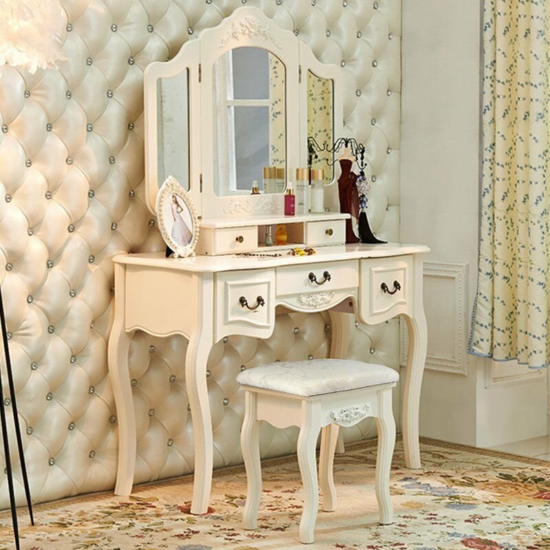 French Vintage White Wood Vanity Dressing Table Set Makeup Desk Bedroom Dresser Ebay