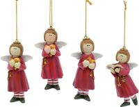 Set of 4 Angel Christmas Tree Hanging Decorations  (Red) NEW  18449