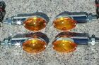 Set of Four Chrome/Amber CATEYE MOTORCYCLE TURN SIGNALS