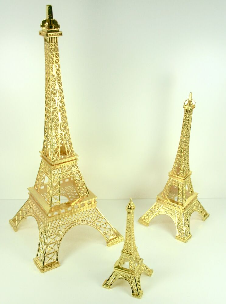 Gold Eiffel Tower Paris France Metal Stand Model For Table