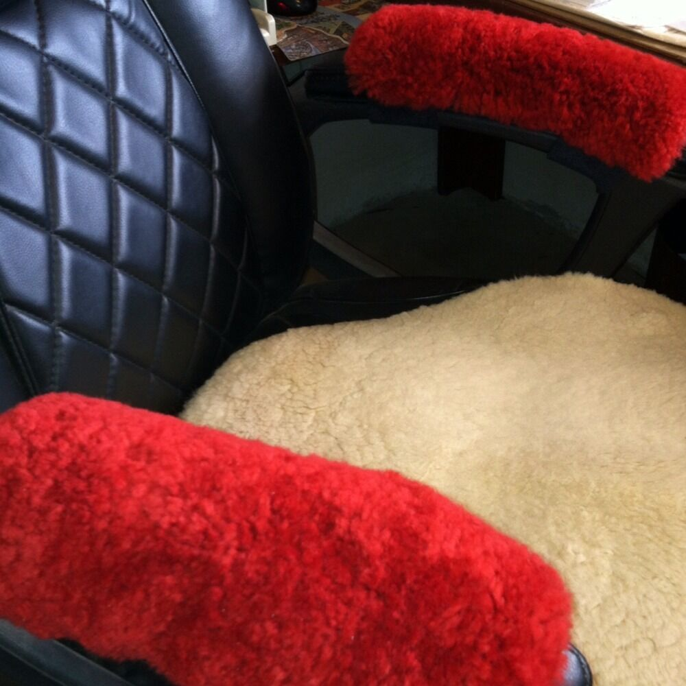 Red Merino Sheepskin Arm Rest Covers Pads Office Chair