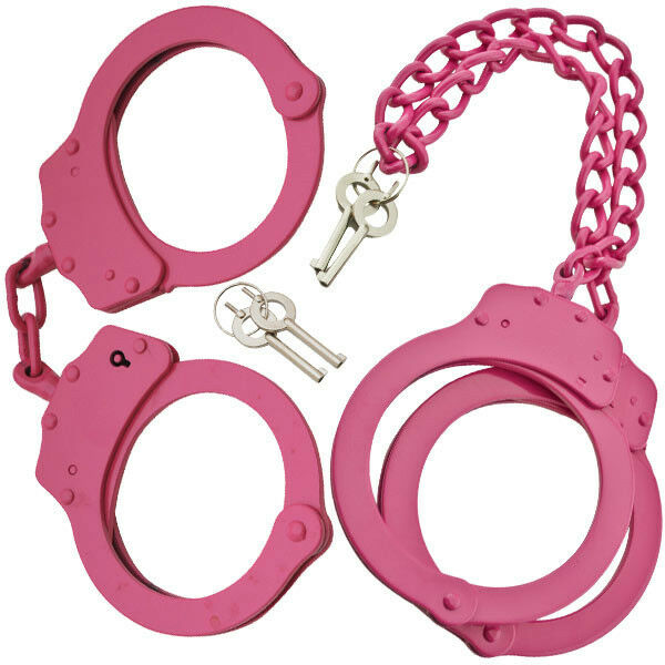 Pink And Black Handcuffs: PINK Steel Hand Handcuffs & LEG CUFFS Police Double